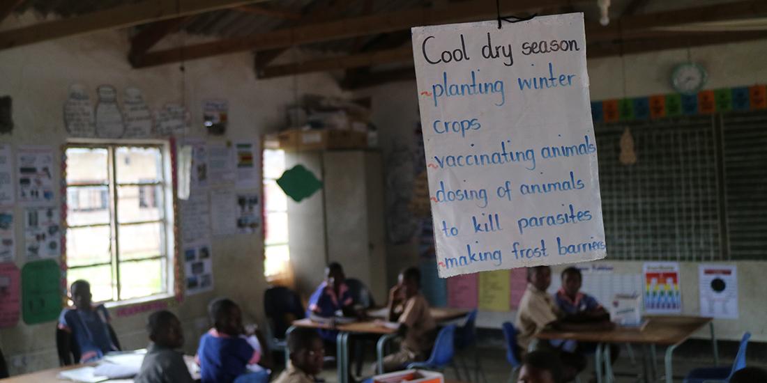 Detalle en un aula. Cartel sobre la economía local donde se encuentra esta escuela rural. En la época seca plantan cultivos de invierno, hay que vacunar a los animales y desparasitarlos, etc.
